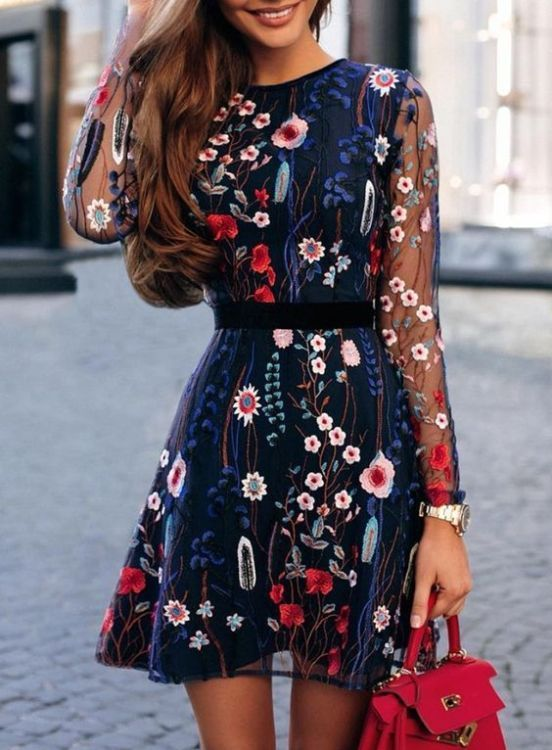 Mini dress with sleeves - Gorgeous Fall Wedding Guest Outfits .