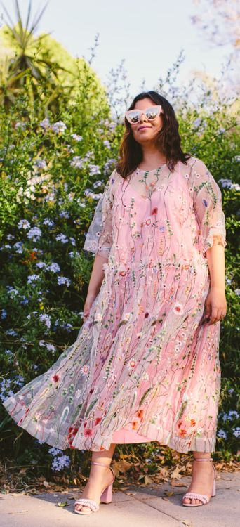 Garden party vibes. Outfit idea: Floral embroidered dress trend .