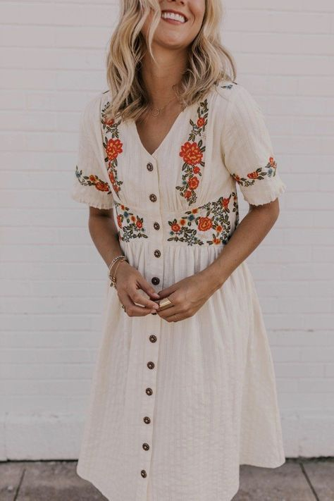 Ithaca Embroidered Dress | Summer dress outfits, Modest dresses .