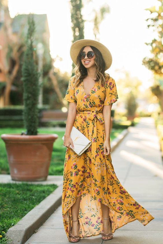 Maxi Dresses: A Few of Our Favorites | Yellow floral maxi dress .