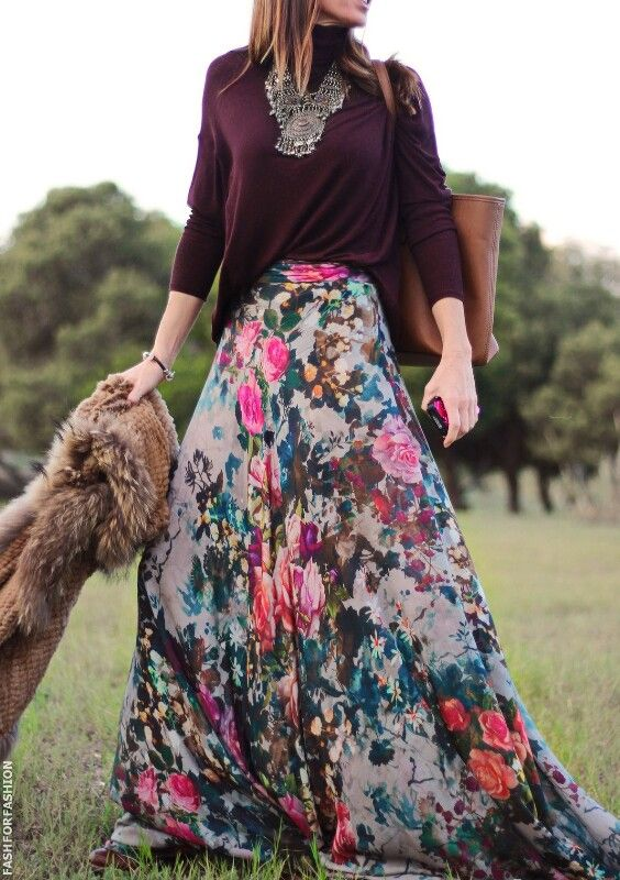Burgundy pull, floral maxi skirt, boho romantic fall winter outfit .