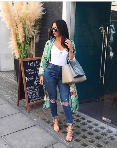Green Floral Print Kimono Robe | Fashion, Kimono outfit, Outfi