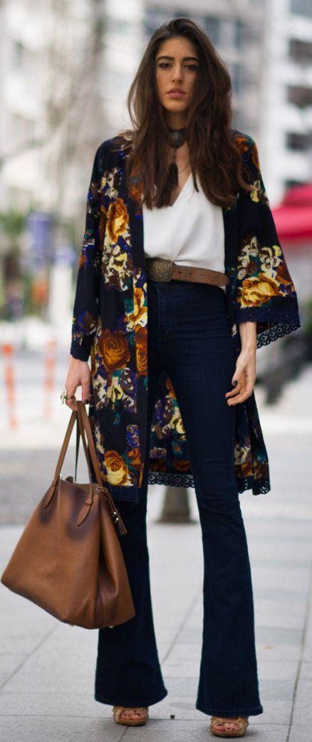 Floral Kimono Outfit Idea | Mode kimono, Mode, Mode fémini
