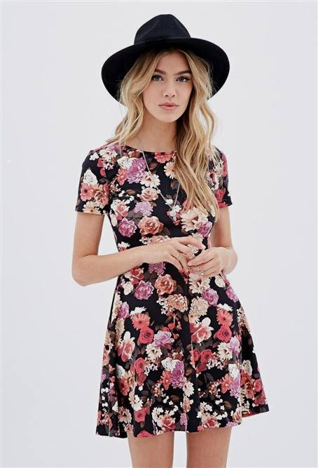 floral skater dress outfit ideas | TopClotheSh