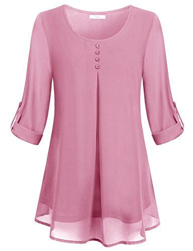 Cestyle Cuffed Sleeve Blouse,Womens Vintage Round Neck Dressy .