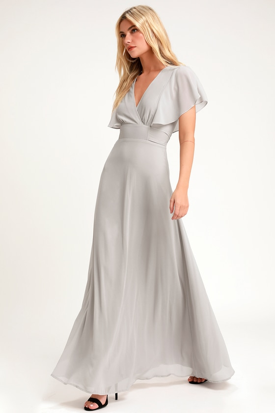 Dearly Loved Light Grey Flutter Sleeve Maxi Dress in 2020 | Maxi .