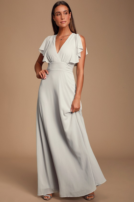 Pretty Light Grey Maxi Dress - Flutter Sleeve Dress - Go