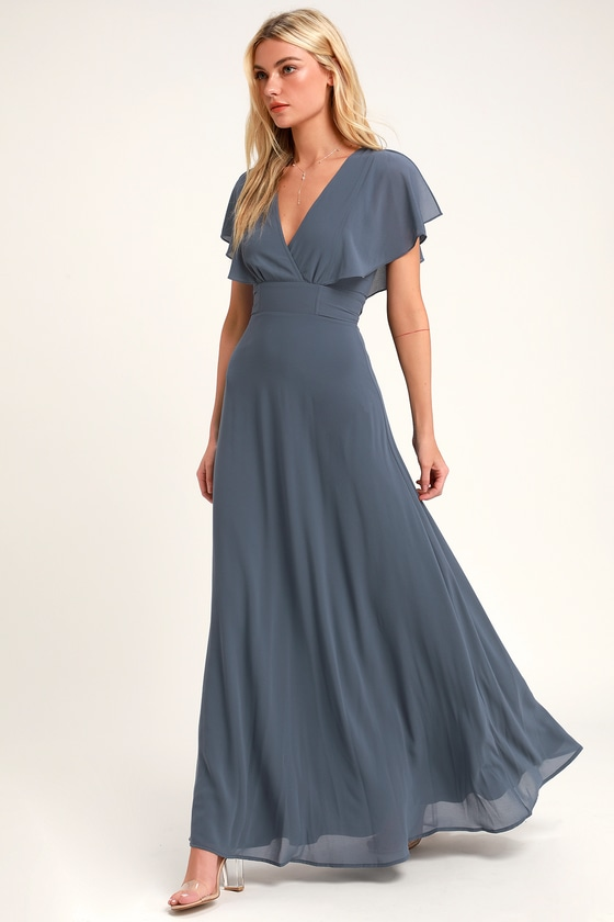 Pretty Slate Blue Maxi Dress - Flutter Sleeve Dress - Go