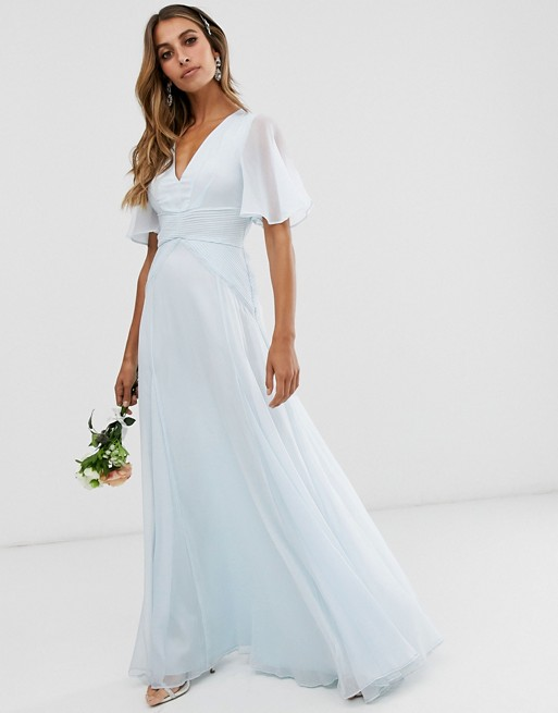 ASOS DESIGN Bridesmaid flutter sleeve maxi dress with pleated .