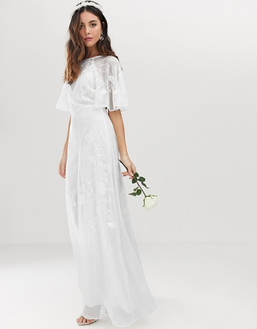 ASOS EDITION embroidered flutter sleeve wedding dress | AS