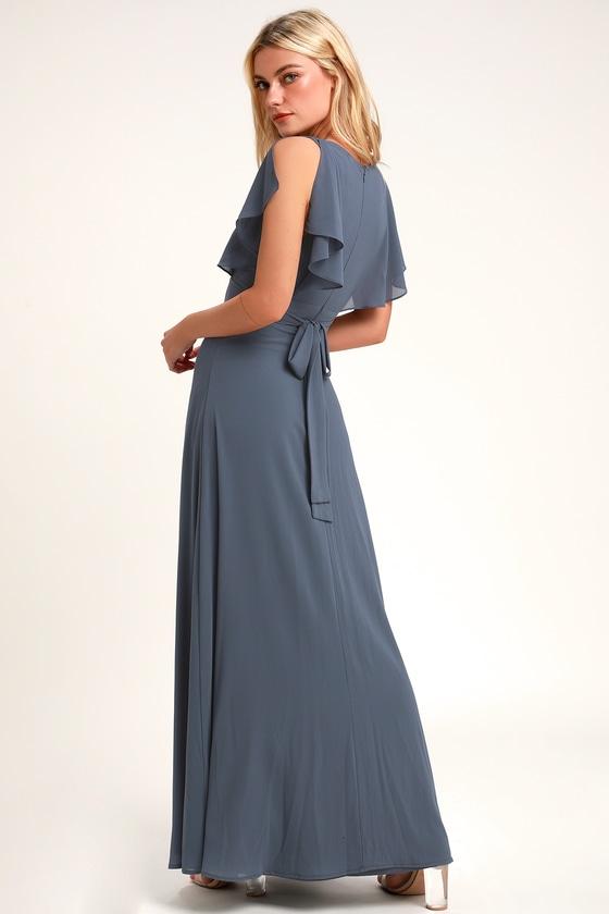 Pretty Slate Blue Maxi Dress - Flutter Sleeve Dress - Go