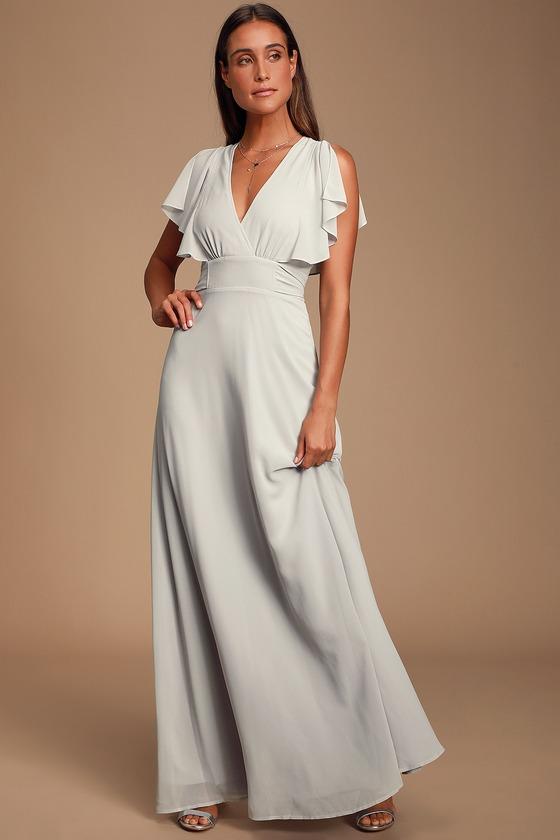 Pretty Light Grey Maxi Dress - Flutter Sleeve Dress - Go
