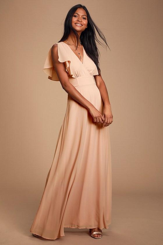 Pretty Blush Maxi Dress - Flutter Sleeve Dress - Blush Go
