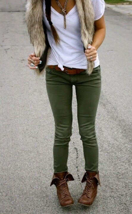 Olive skinny pants with brown fold over combat boots. Not sure .