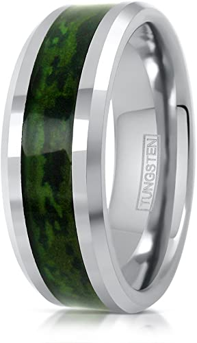 King's Cross Amazing 8mm Silver-tone Tungsten Carbide Wedding Band .