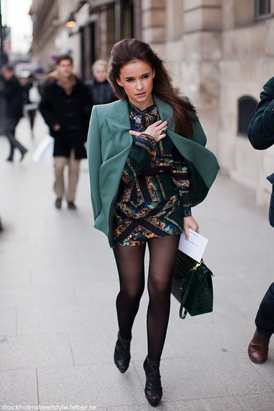 Miroslava Duma in an unexpected color -- that forest green looks .