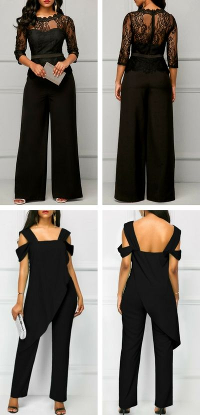 jumpsuit, black jumpsuit, lace up jumpsuit, elegant jumpsuit .