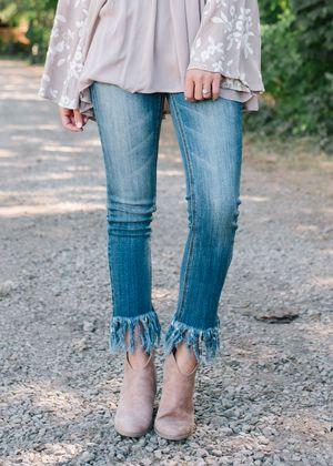 Medium Wash Fringe Frayed Crop Bottom Jeans | Fringe jeans, Frayed .