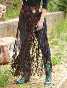 Long Leather Fringe Belt/Overskirt from Crows Nest, turquoise .