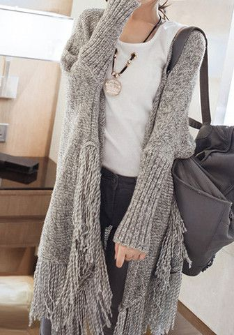 Oversized Fringed Cardigan I like this sweater. | Fashion, Clothes .