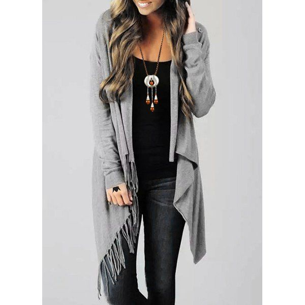 Stylish Collarless Long Sleeve Asymmetrical Fringed Women's .