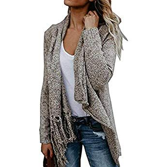 Nhicdns Women's Tassels Slash Sweater Coat Speckled Shawl .