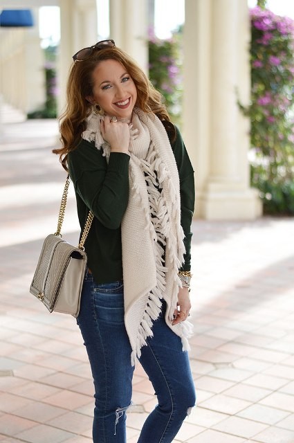 21 Fringe Scarf Outfit Ideas For Women - Styleohol