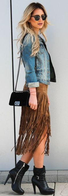 23 Best Outfits with Fringe Skirts images | Fringe skirt, Suede .