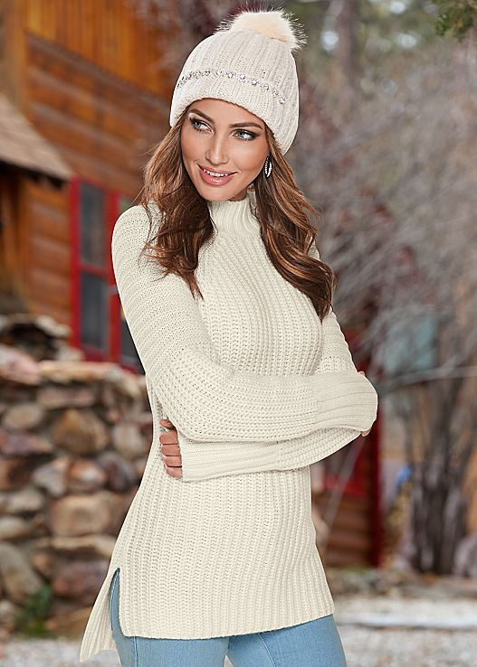 Say hi-low to this cute high low hem sweater! Venus mock neck .