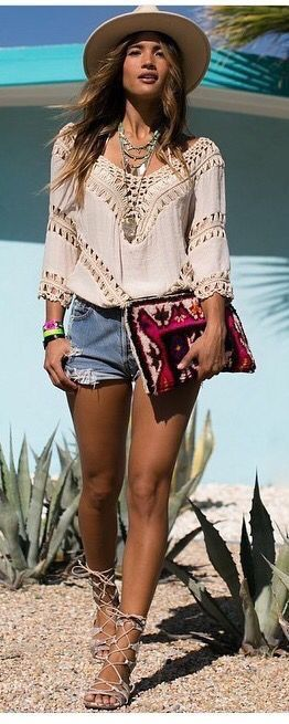 A Bohemian Fringe Blouse in Beige as featured on Pasaboho. This .
