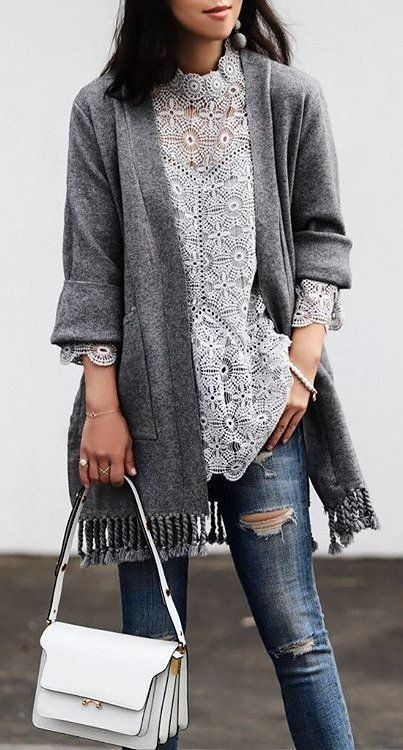 White Lace Top + Grey Fringe Cardigan | Lace top outfits, Lace top .