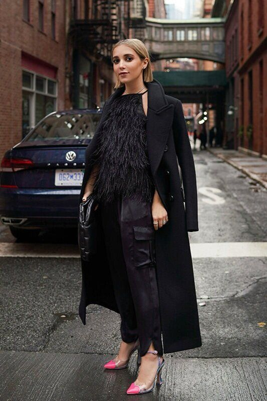 NYFW Day 5 - Feathers for Spring | Black coat outfit, Chic winter .