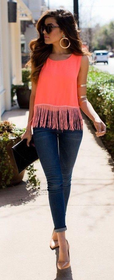 Tangerine Fringe Top Outfit Idea | Boho Chic Style | Sazan .