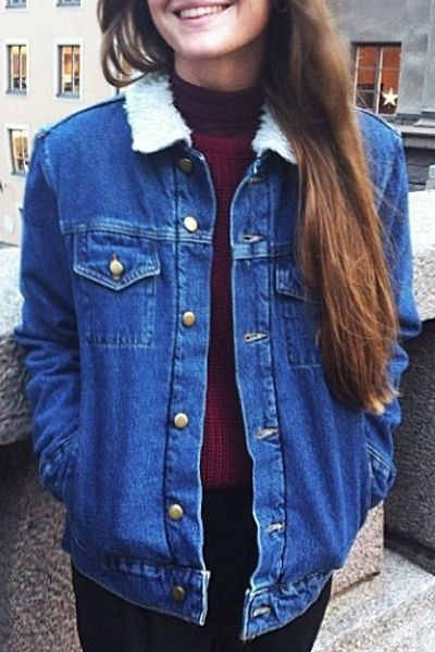 Faux Fur Flat Collar All Match Denim Thicken Coat | Denim jacket .