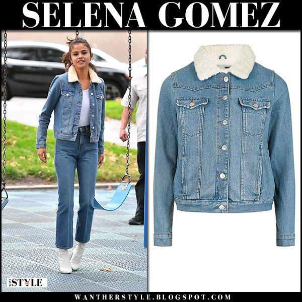 Selena Gomez in denim jacket, cropped jeans and white boots .