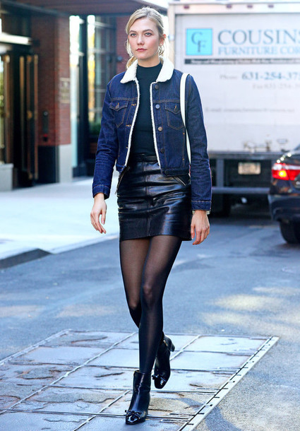 skirt, tights, fall outfits, mini skirt, karlie kloss, model off .