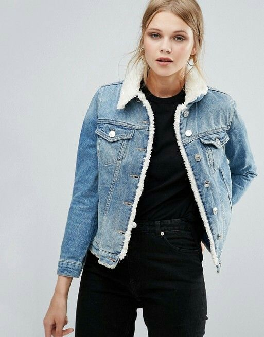 jean jacket with fur/fleece lining | Denim jacket women, Fur lined .