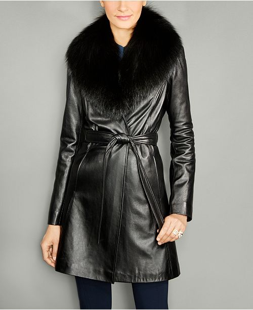 The Fur Vault Fox-Fur-Collar Belted Leather Coat & Reviews - Wom