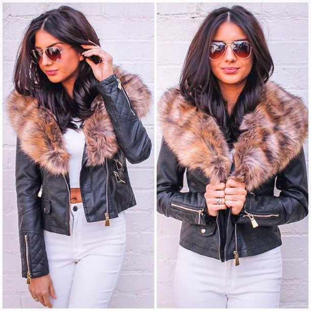jacket, one nation clothing, leather jacket, fur trim jacket, fur .