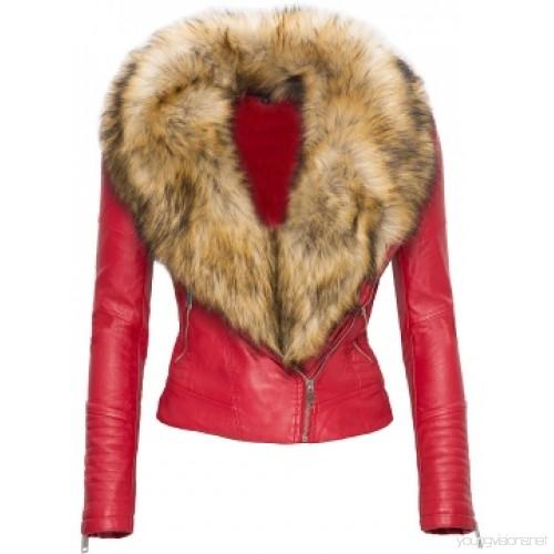 Faux Fur Collar Zip Up Women's Jacket : 126978