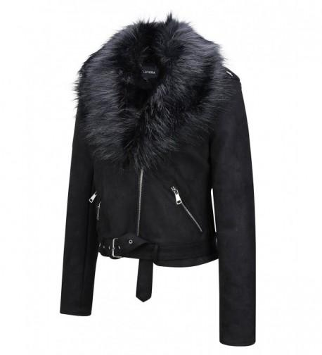 Womens Faux Fur Collar Leather Suede Short Jacket - Black8830 .