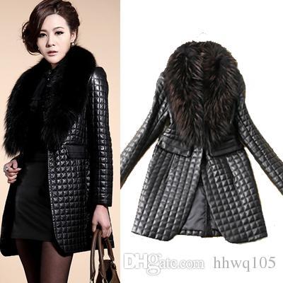 2020 Womens Slim Fit Faux Fur Collar Coat Outwear Black Long .