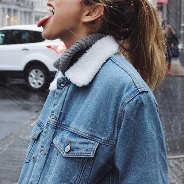 Oversized Fleece Fur Lined Denim Jacket with fur in 2020 | Fur .