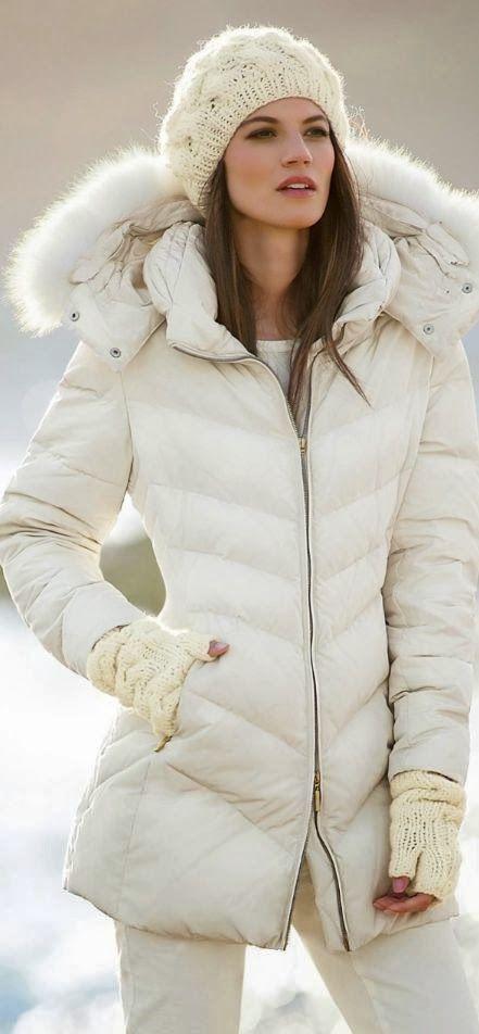 Stunning women's winter fashion! White puffer coat fur lined hood .