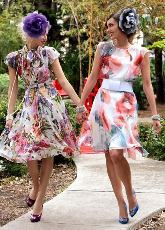 Girlfriends In Pretty Dresses … | Garden party outfit dresses, Tea .