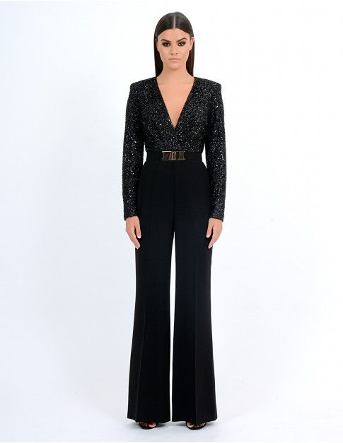 SUKI - Black Glitter Jumpsuit - Jumpsuits - All Clothing | Forever .