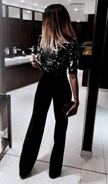 fashionable outfit idea : glitter top + bag + black wide pants .