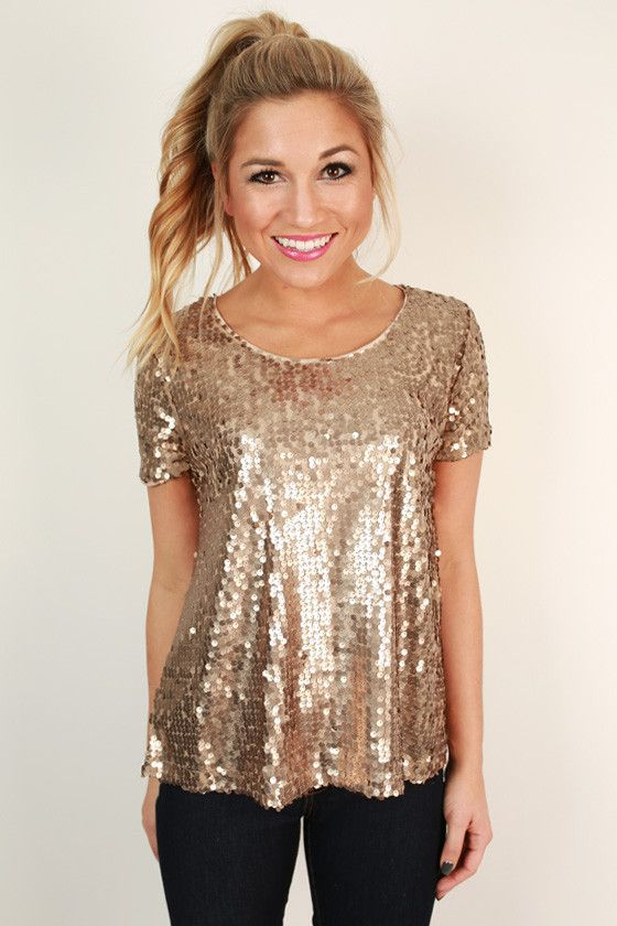 Sparkle In The City Top in Taupe - Gold Sequin Glitter Top .