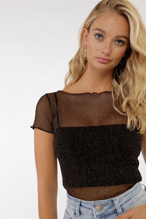 Glitter Mesh Top | Glitter tops outfit, Mesh top outfit party .