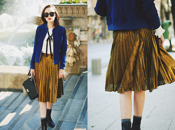 Andreea Birsan - Gold Metallic Midi Skirt, Blue Suede Jacket .